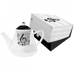 Glass Teapot with Strainer I Love Music PPD